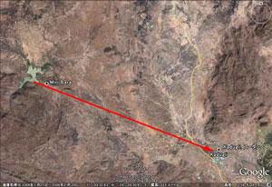 写真14.Miriダムとカドグリ市との位置関係(出典:Google Earth)