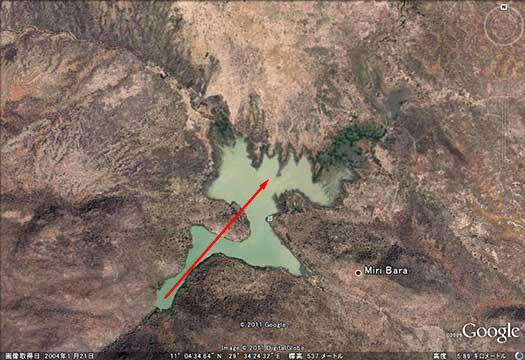 写真15.上流側に拡大したMiriダムの貯水域 (出典:Google Earth)