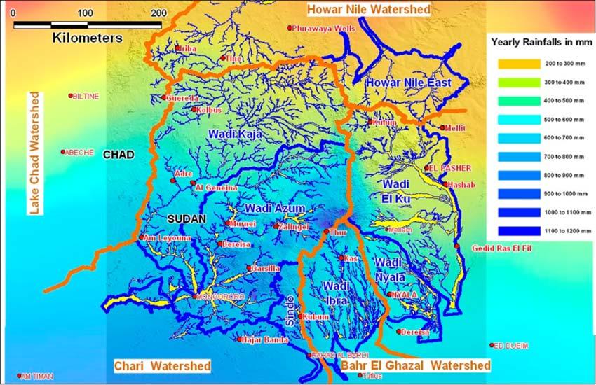 図1.Marra 山系を主体とする代表的な水系の分布図 (出典:西ダルフール水公社)