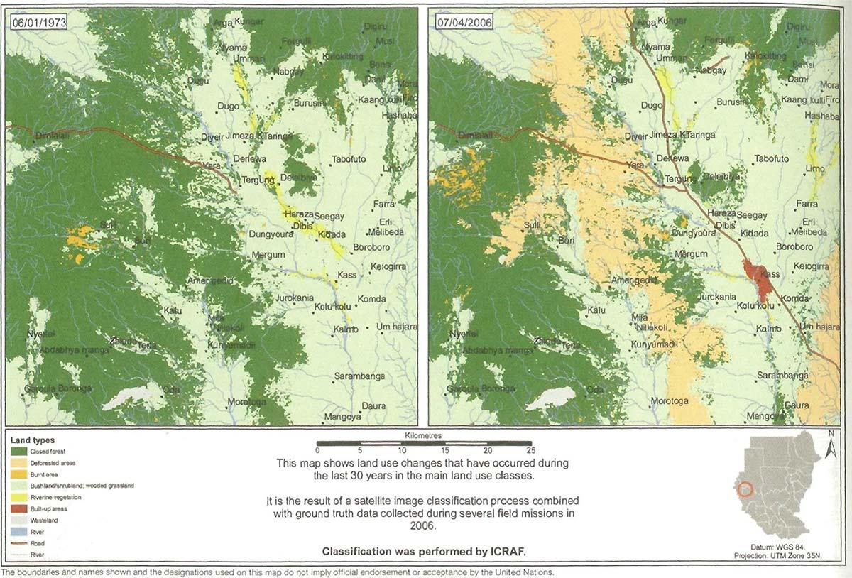 図2.Marra 山系における森林破壊の様子(出典:UNEP)