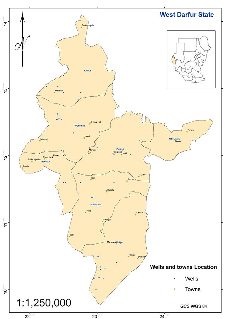 図3.西ダルフール州の主要集落と井戸の分布図(出典 : WES)