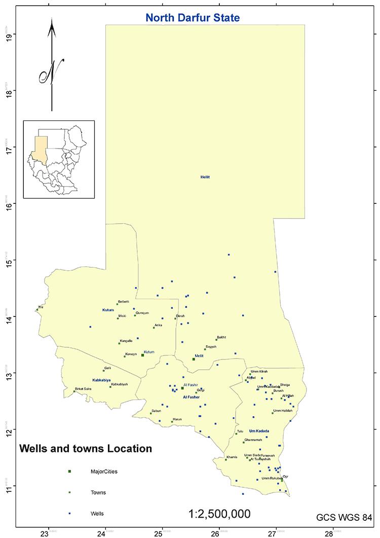 図4.北ダルフール州の主要集落と井戸の分布図