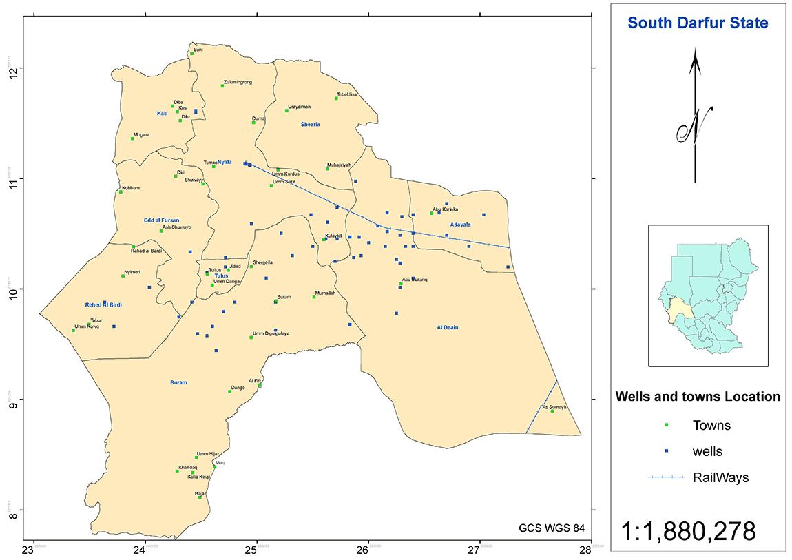 図5.南ダルフール州の主要集落と井戸の分布図